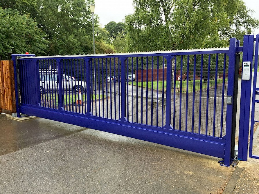 ABC Fencing School Gates Blue Sliding Gate